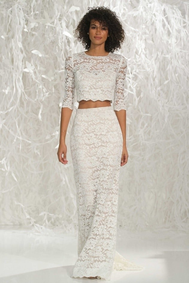 Wedding dress trends the two piece knockout fizara for Crop top wedding dress